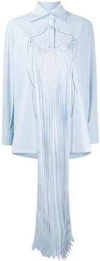 pleated panel relaxed-fit shirt - Blue