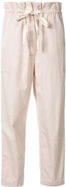 cropped twill trousers - Neutrals