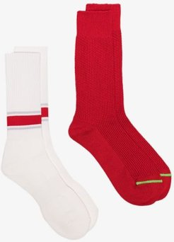 red and white crew socks set