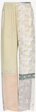 patchwork silk lounge trousers