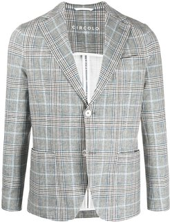 checked print single breasted blazer - Blue