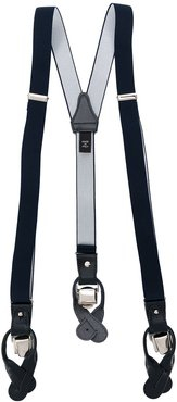 leather-trimmed suspenders - Blue
