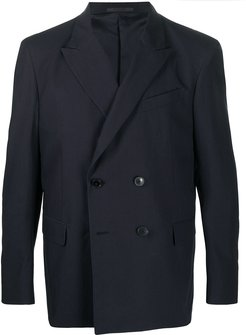 double-breasted cotton blazer - Blue