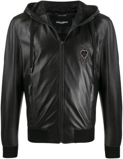crown heart embroidered jacket - Black