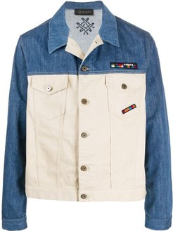 contrast denim jacket - Blue