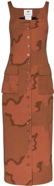 Regenerated military tailored dress - Brown
