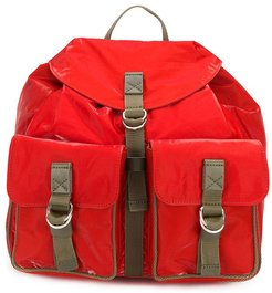 buckled strap backpack - Red
