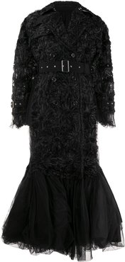 rosette-embellished chiffon and tulle down - Black
