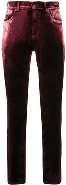 velvet skinny trousers - Red