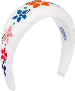floral-embroidered headband - White