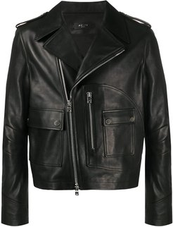 flap pocket biker jacket - Black