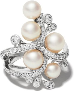 18kt white gold Raindrop Akoya Pearl and diamond ring - 7