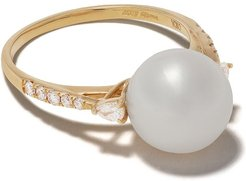 18kt yellow gold Classic Freshwater pearl and diamond ring - 6