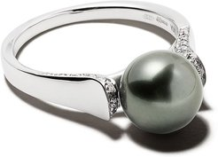18kt white gold Classic Tahitian pearl and diamond ring - 7