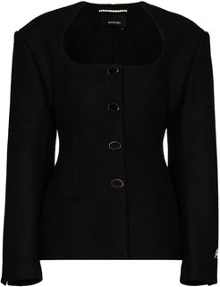 fitted wool jacket - Black