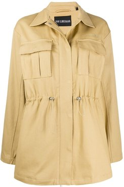 drawstring twill coat - Brown