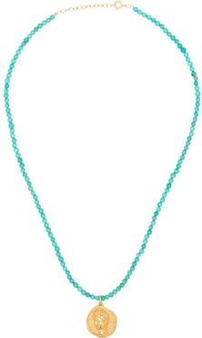 Hermis beaded coin-pendant necklace - Blue
