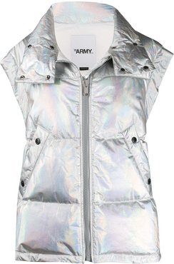 holographic down gilet - SILVER