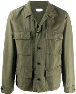 embroidered stripe utility jacket - Green