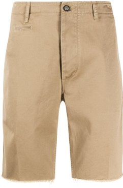 embroidered striped chino shorts - NEUTRALS