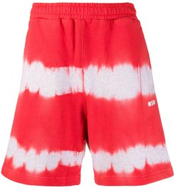 tie-dye track shorts - Red