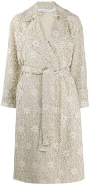 floral embroidered trench coat - Neutrals