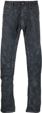 textured distressed style trousers - Blue