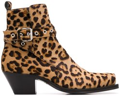 leopard print 60mm ankle boots - Brown