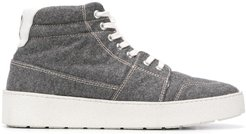 high top leather-trimmed sneakers - Grey