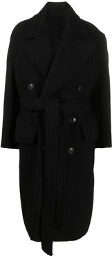 double-breasted belted coat - Black