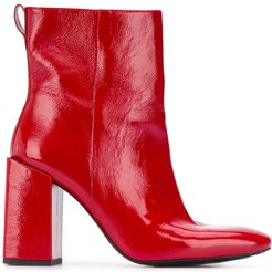 block-heel ankle boots - Red