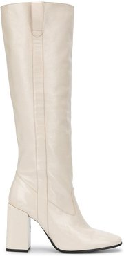 block-heel knee-high boots - White