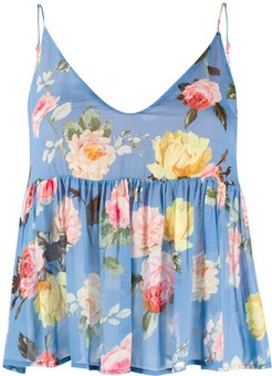 flared floral-print top - Blue