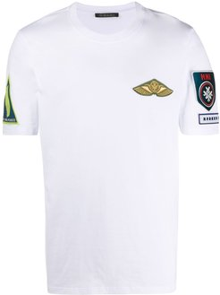 embroidered detail round neck T-shirt - White