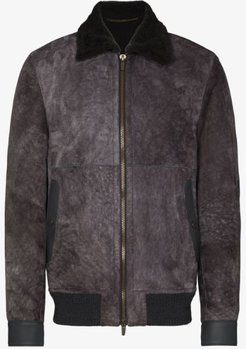 Lacon suede and shearling bomber jacket