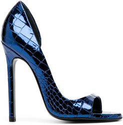 croc-effect open toe pumps - Blue