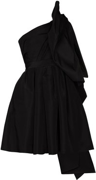 one shoulder bow detail mini dress - Black