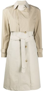 two tone trench coat - Neutrals
