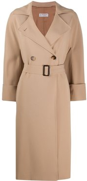 double-breasted belted coat - Neutrals