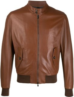 leather bomber jacket - Brown