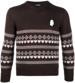 v-neck jumper - Brown
