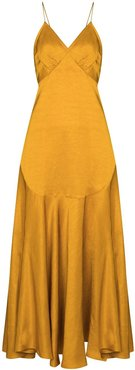 flared slip midi dress - Yellow