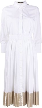 belted pleated shirt dress - White