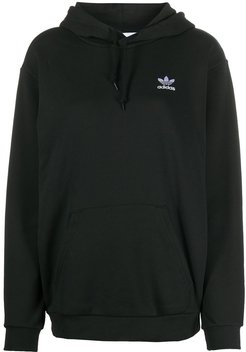 logo embroidered hoodie - Black