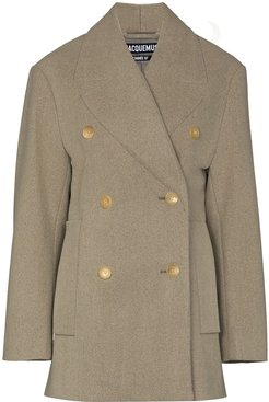 Le Caban oversized peacoat - Brown