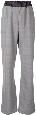 checked print trousers - Grey