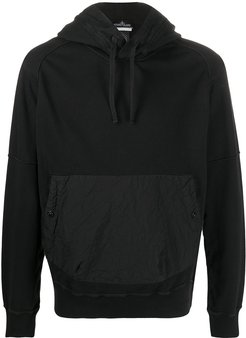 crinkled effect front pocket hoodie - Black