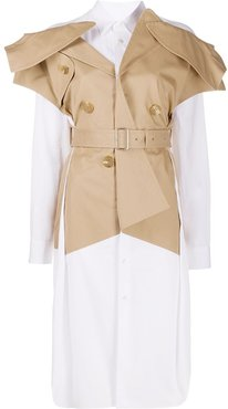 layered trench-style longline shirt - Neutrals