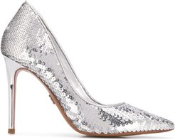 sequined stiletto pumps - SILVER