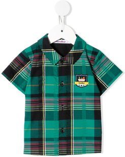 embroidered logo plaid shirt - Green